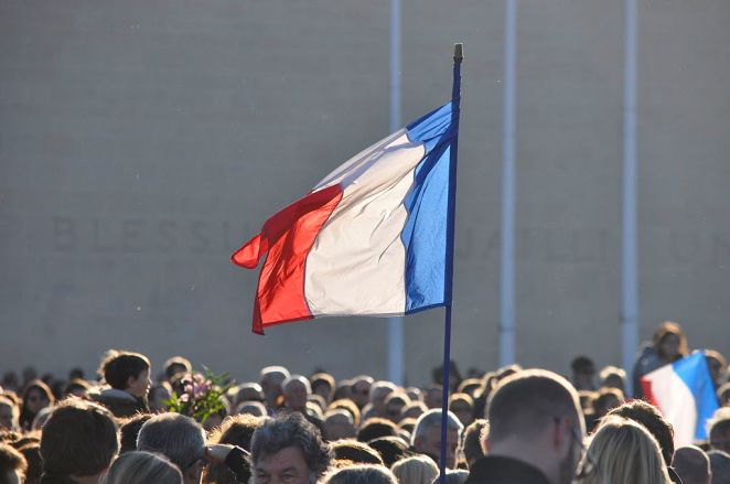 French Flag waving atop Caen Memorial- Nov 15th 2015